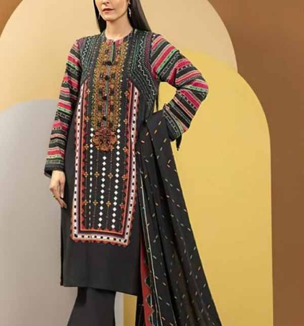 Hit Black Lawn Embroidered Dress 2021 with Chiffon Dupatta UnStitched (Unsicthed) (DRL-695)