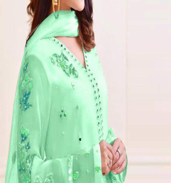 Hit Design Paper Cotton Dress 3D EMB With Chiffon Dupatta (CHI-494)