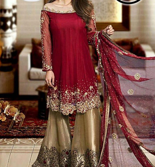 Hit Designer Embroidered Chiffon Suit With Chiffon Duppata (CHI-356) (Unstitched)