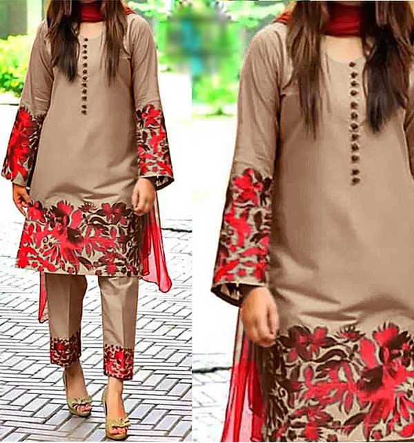 Lawn Heavy Full Embroidered Dress 2-Pcs UnStitched (DRL-632)