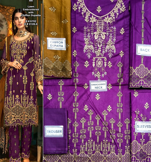 Hit Lawn Heavy Embroidered Suit With Chiffon Embroidery Duppata (Unstitched ) (DRL-607)