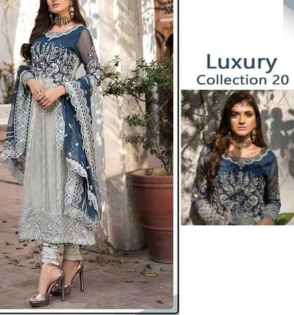 Hitt Net Embroidered Suit With Net Embroidery Net Dupatta Unstitched (CHI-394)