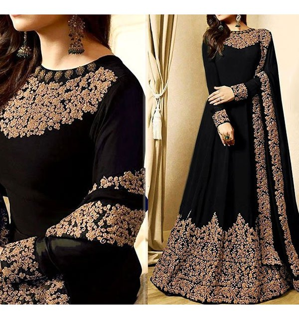 Indian Embroidered Black Chiffon Maxi Unstitched (CHI-177)