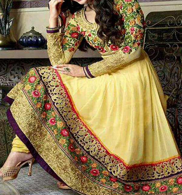 fd368456a4 Indian Embroidered Chiffon Frock (Unstitched) (CHI-34) Online Shopping &  Price in Pakistan