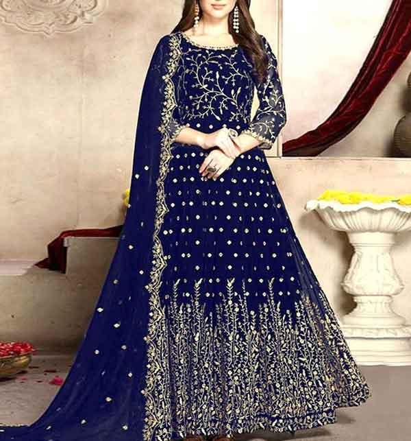 Latest Indian Embroidered Chiffon Maxi Dress 2021 (CHI-419)