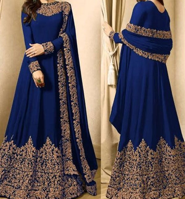 9844cedc90f3 New Indian Embroidered Navy Blue Chiffon Maxi (CHI-168) Price in Pakistan  (CHI-168)