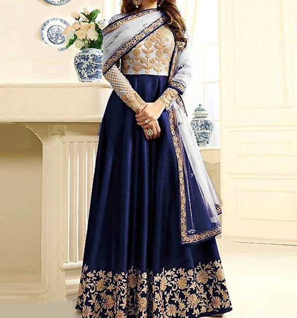 Indian Embroidered Navy Blue Chiffon Maxi Dress  (CHI-491)