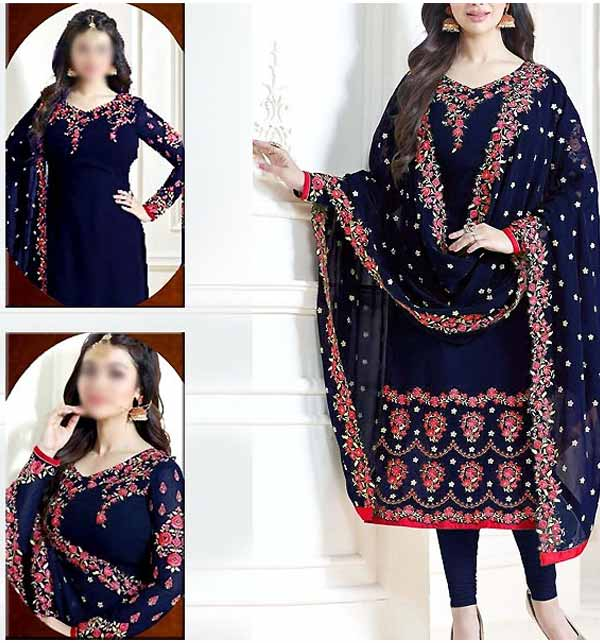 Indian Embroidered Navy Blue Chiffon Party Wear Dress (CHI-465)