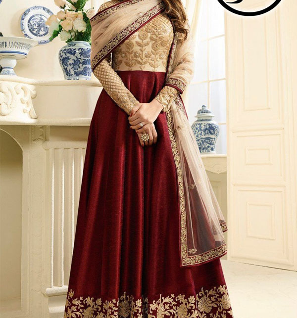Indian Embroidered Maroon Chiffon Frock Dress (CHI-373)