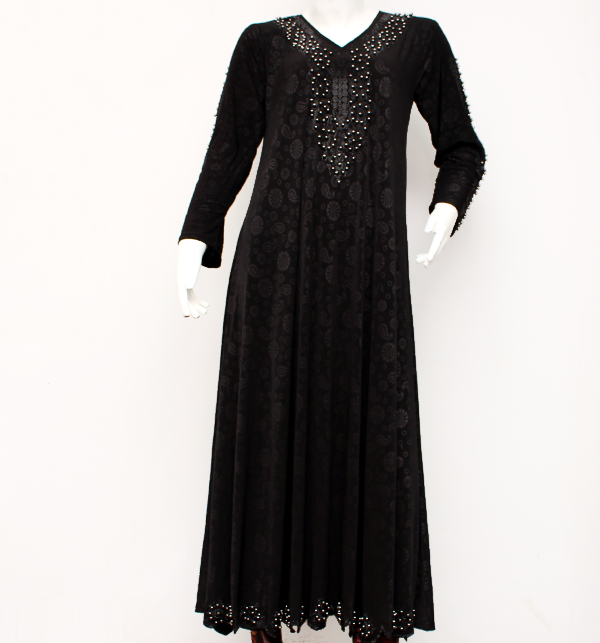 Black Nida Fabric Abaya With Scarf 2020 (AB-35)