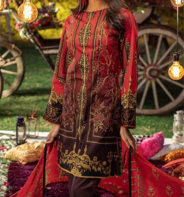 Khaddar Embroidered Suit with Wool Shawl Dupatta (Unstitched) (KD-55)