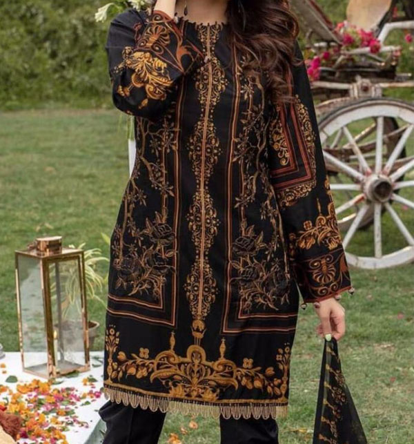 Khaddar Embroidered Suit with Wool Shawl Dupatta (Unstitched) (KD-56)