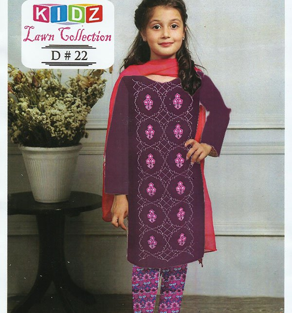 Kids 2-Pcs Embroidered Lawn Dress (DK-22) (UnStitched)