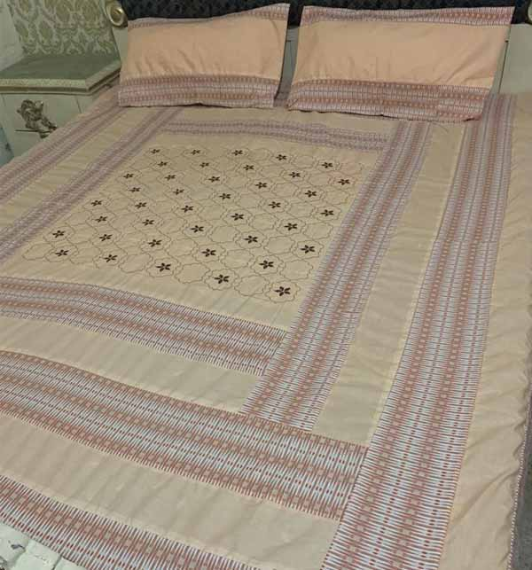 King Size Cotton PatchWork Bed Sheet With 2 Pillow Cover (BCP-42)