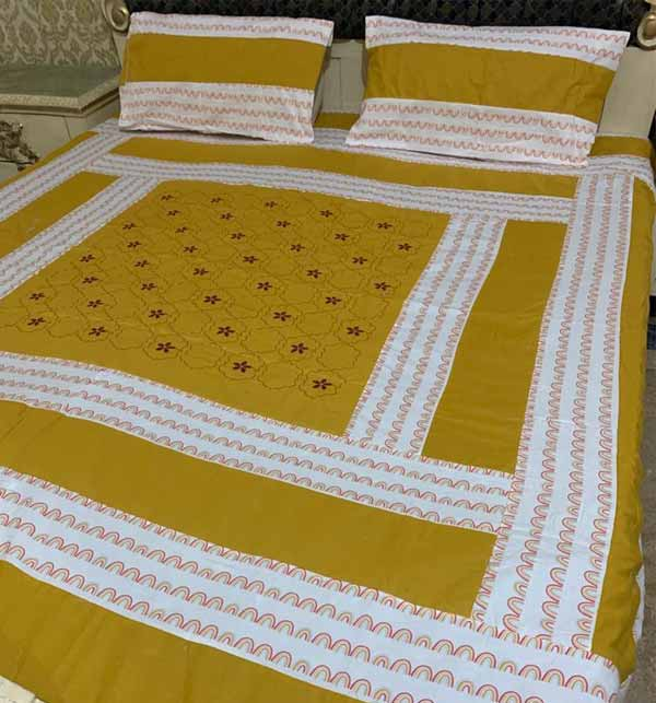 King Size Cotton PatchWork Bed Sheet With 2 Pillow Cover (BCP-45)