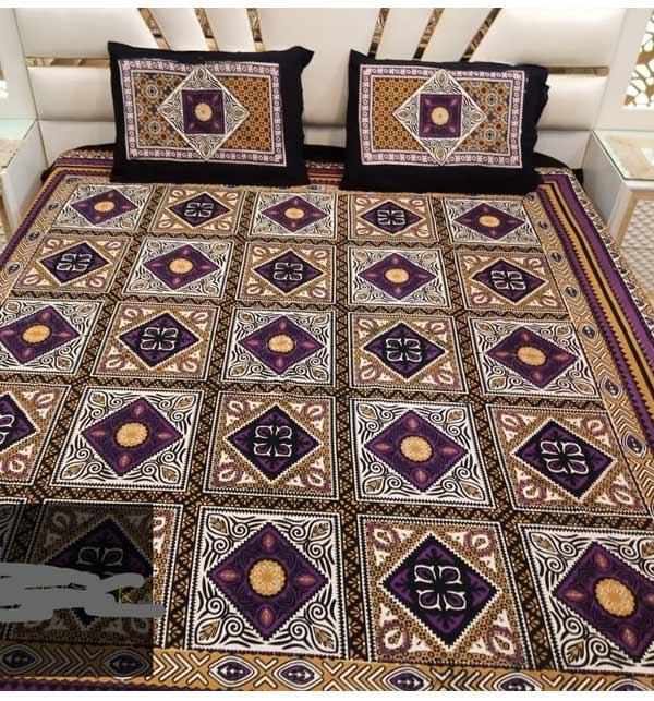 King Size Cotton Sindhi Ajrak Design Bed Sheet (BCP-08)