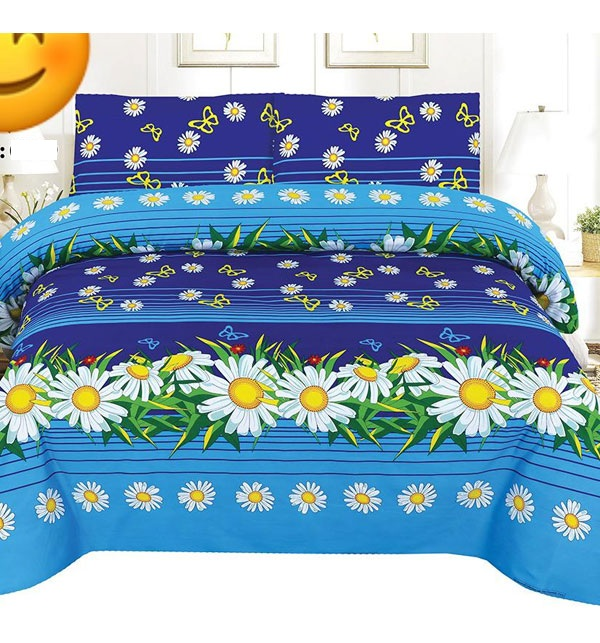 King Size Crystal Cotton Bed Sheet Design (BCP-61)