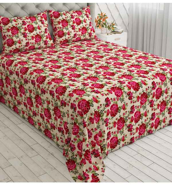 King Size Crystal Cotton Bed Sheet with 2 Pillow Covers (3D-58)