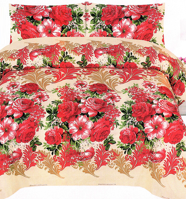 King Size Crystal Cotton Bed Sheet with 2 Pillow Covers (3D-59)