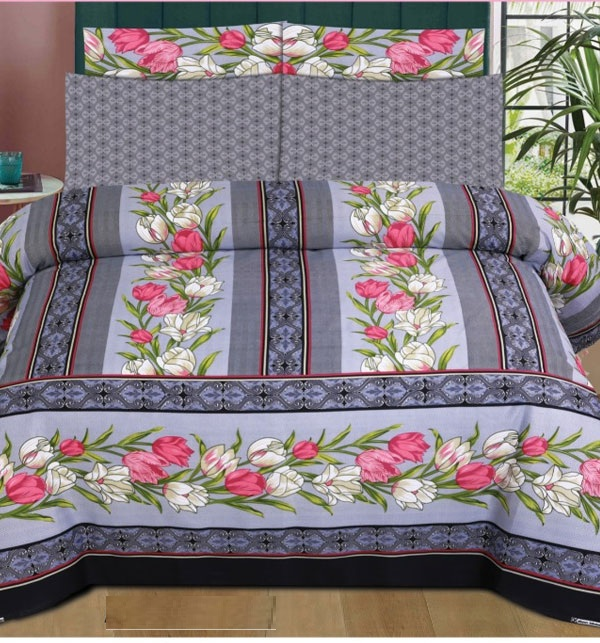 King Size Pure Cotton Bed Sheet With 2 Pillow Cover (BCP-56)