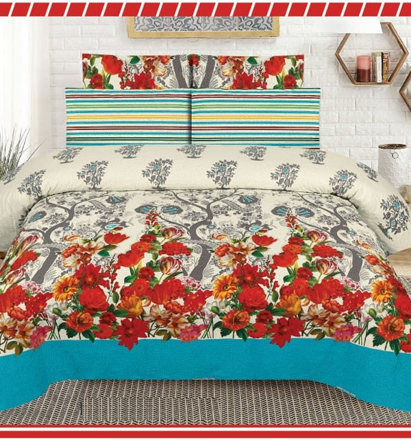 King Size Pure Cotton Bed Sheet With 2 Pillow Cover (BCP-57)