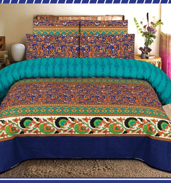 King Size Pure Cotton Bed Sheet With 2 Pillow Cover (BCP-58)