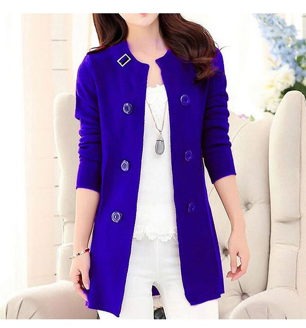 Korean Style Ladies Fleece Coat - Blue