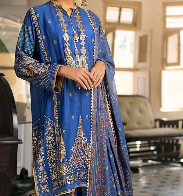 Linen Embroidered Suits With Wool Shawl Unstitched (LN-78)