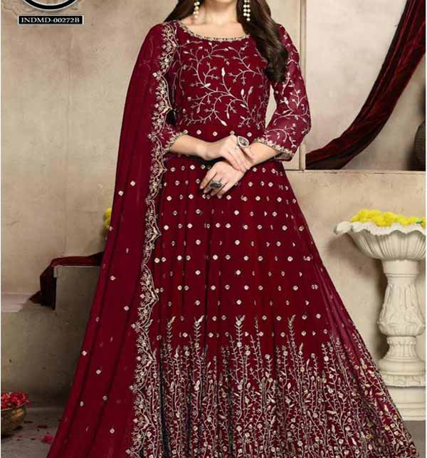 Ladies Indian Chiffon Embroidered Frock Maroon (CHI-431)