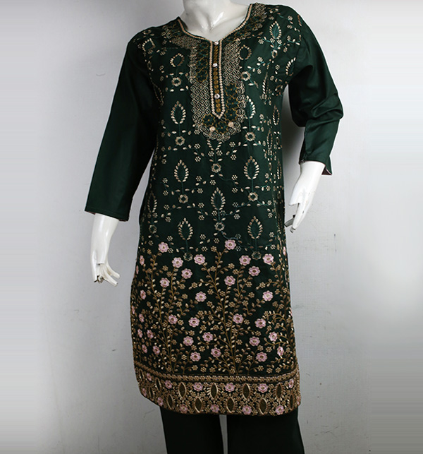 Stitched Cotton Heavy Embroidery Suit (DRL-837)