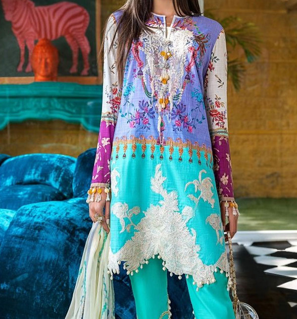 Lawn Embroidery suits 2020 for women Unstitched  (DRL-490)
