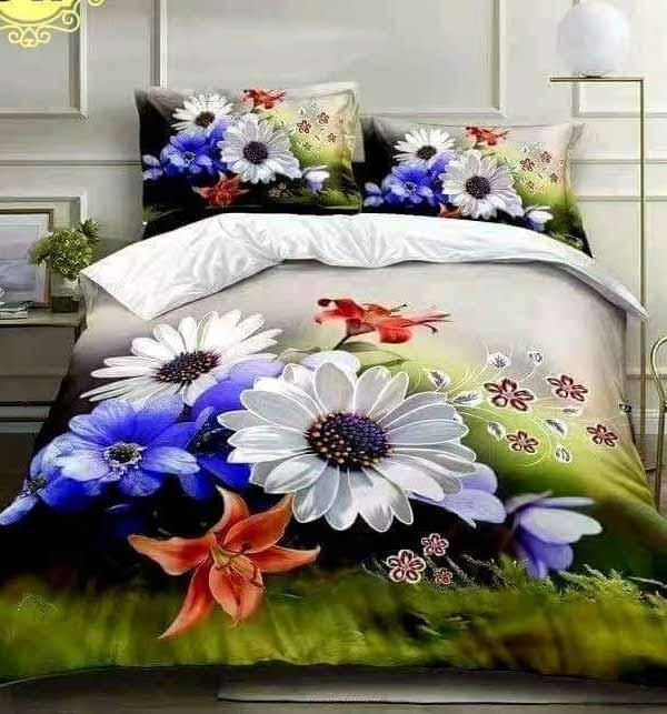 Latest 5D Digital HD Print White Cotton Satin Bedsheets Design 2021 (BCP-37)
