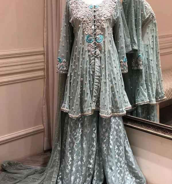 Chiffon Bridal Embroidered Dress Chiffon Heavy Gharara (unsitched) (CHI-416)
