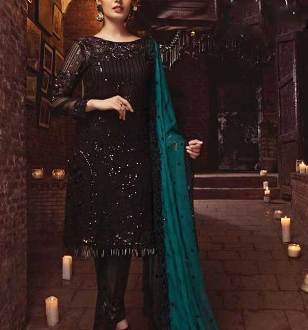 Latest Embroidered Black Chiffon Dress (CHI-375)