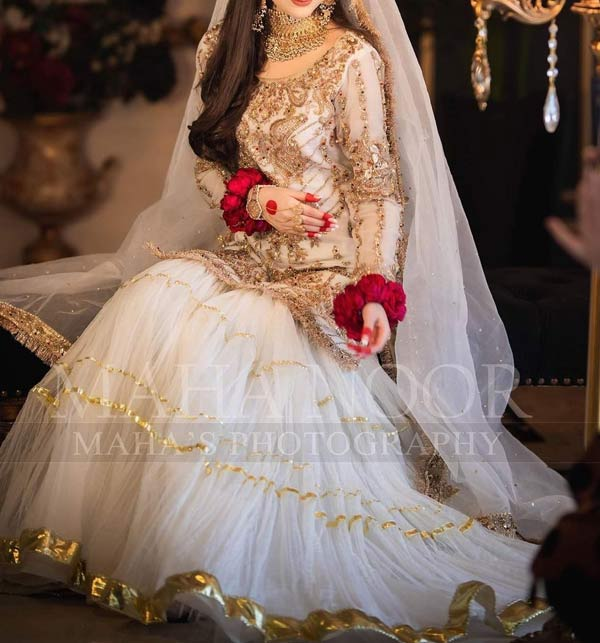 Latest Embroidered NET Bridal Dress With Lace Work Dupatta (Unstitched) (CHI-510)