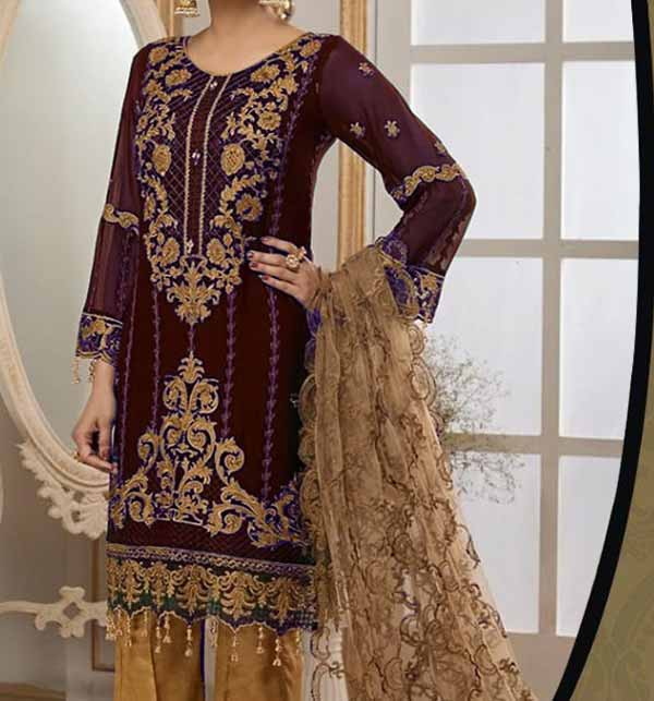 Latest Embroidered Lawn Dress With Chiffon Duppata  (Unsitched) (DRL-828)