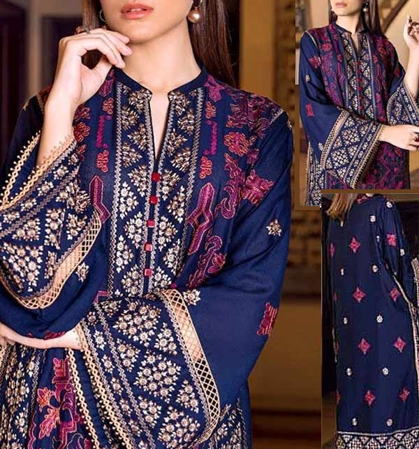 Latest Embroidered Linen 2 Pcs Dress 2021 (Unstitched) (LN-255)