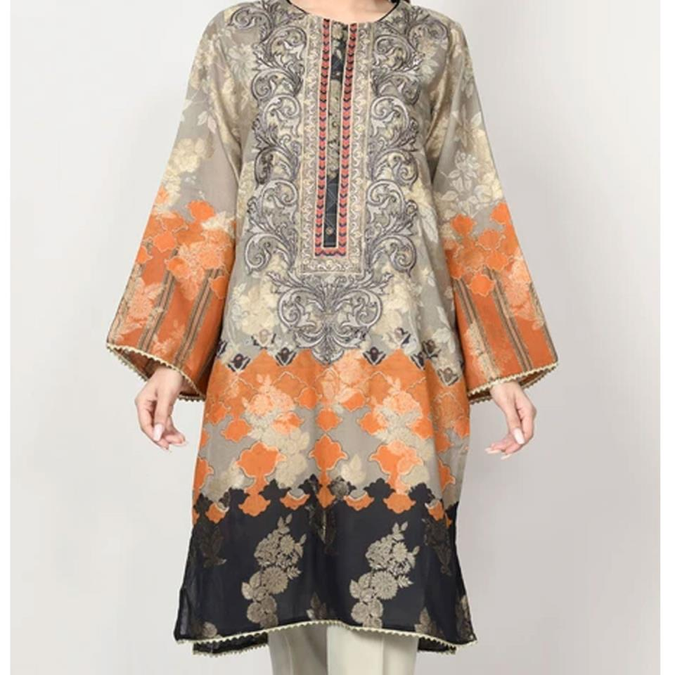 Latest Embroidered Linen Dress 2020 with Wool Shawl UnStitched  (LN-162)