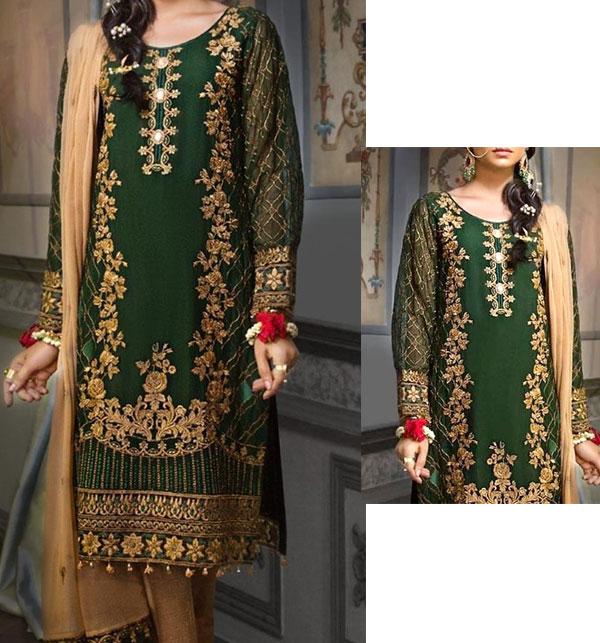 Latest Handwork Embroidered Chiffon Wedding Dress (Unstitched) (CHI-363)