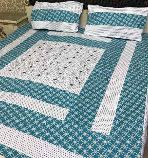 Latest King Size Cotton PatchWork Bed Sheet With 2 Pillow Cover (BCP-44)
