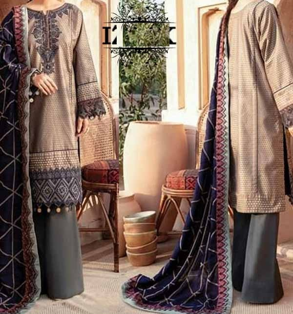Latest Lawn Embroidery Suit With Lawn Duppata (Unsicthed) (DRL-694)