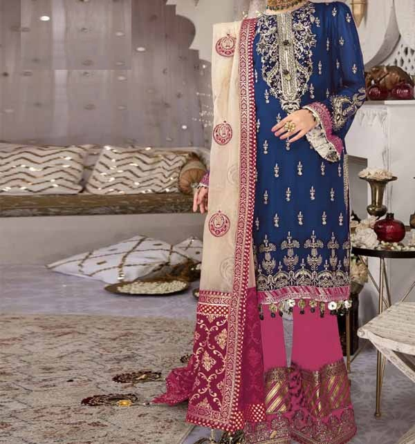 Latest Lawn Embroidered Dress 2021 with Chiffon Dupatta UnStitched (DRL-766)