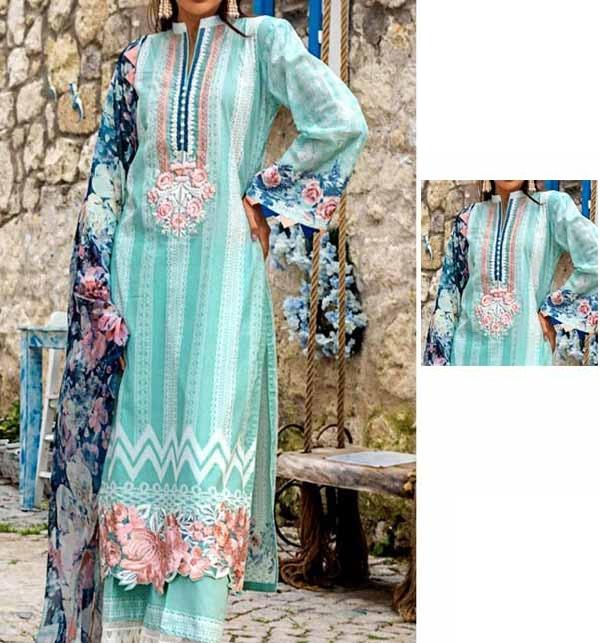 Latest  Lawn Embroidered Dress with Chiffon Dupatta (DRL-915)