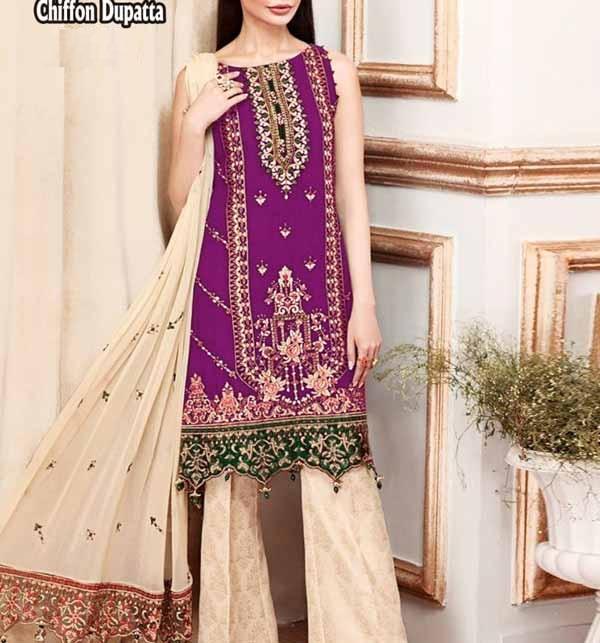 LAWN Embroidered Dress with Chiffon Dupatta (DRL-916)