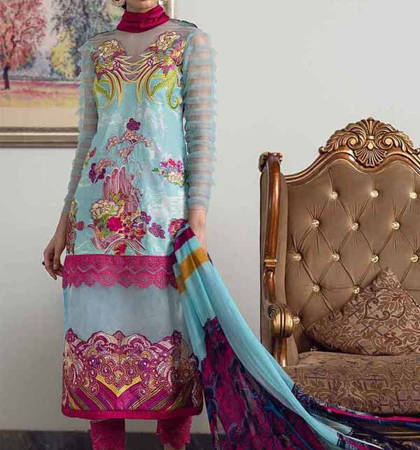 Latest Lawn Suit With Chiffon Duppata (DRL-817)
