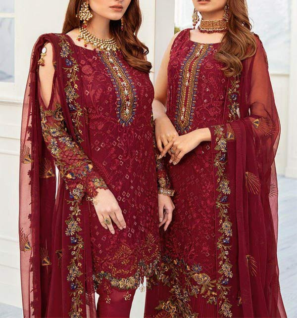Chiffon Handwork Heavy Embroidered Dress With Embroidered Dupatta (CHI-500)