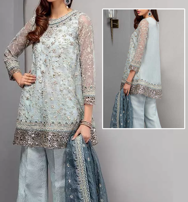 Latest Net Suit With Chiffon Dupatta For Wedding 2020 (CHI-357) (Unstitched)