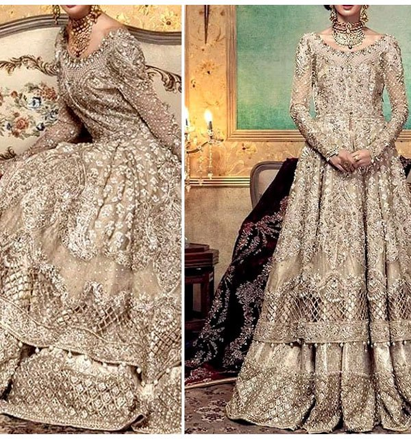 Net Heavy Embroidery Bridal Dress (Unstitched) (CHI-154)