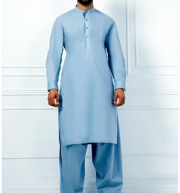 Cotton Latha (Sky Blue) Unstitched Suit For Men (MSK-58)
