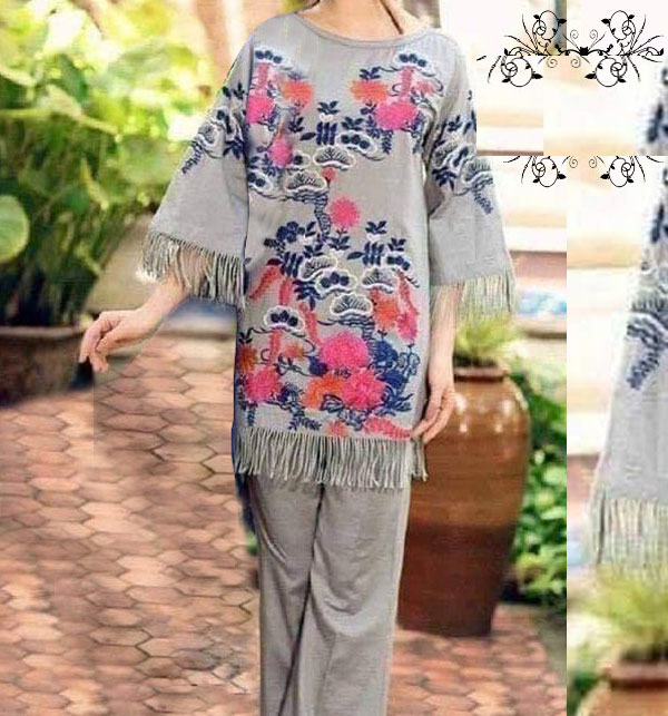 Lawn 2 pcs Suit Front Full Heavy Embroided (Unstitched) (DRL-477)